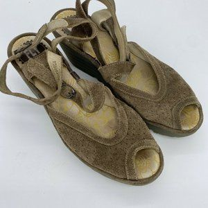 Fly London Yaxi Wedge Sandals Beige Suede ankle